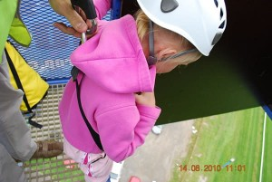 All ages can take part, young girl takes on the challenge