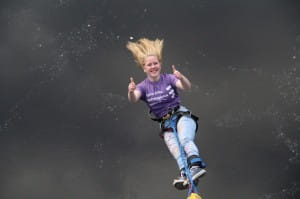 One brave supporter bungee jumps for SBH Scotland. She gives it 2 thumbs up.
