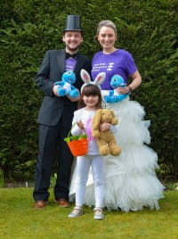 family dress up in fancy clothing during lockdown for SBH Scotland