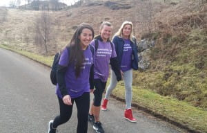 3 walkers, rambling for SBH Scotland